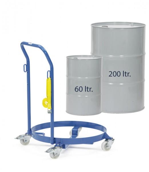 fetra® 13600 Fassroller für 60 und 200 Liter Fässer mit Schiebebügel