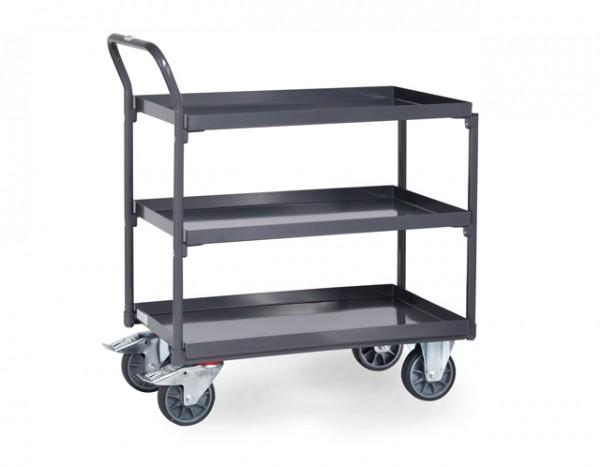 fetra® 9930 ESD-Tischwagen mit Wanne - 3 Etagen