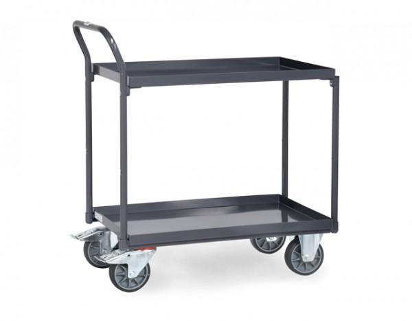 fetra® 9920 ESD-Tischwagen mit Wanne - 2 Etagen - Schiebegriff hochstehend