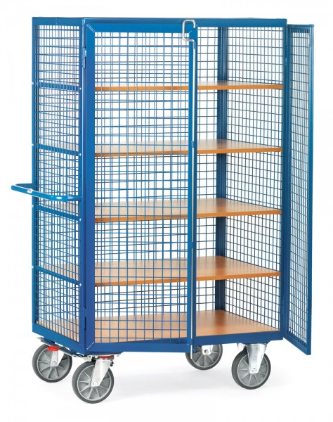 fetra® 4392 Schrankwagen mit Gitterwänden und Türen - mit Stangenverschluss