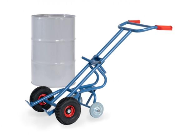 fetra® 2079 Fasskarre mit 2 Stützrädern für 200l Fässer - Luftbereifung