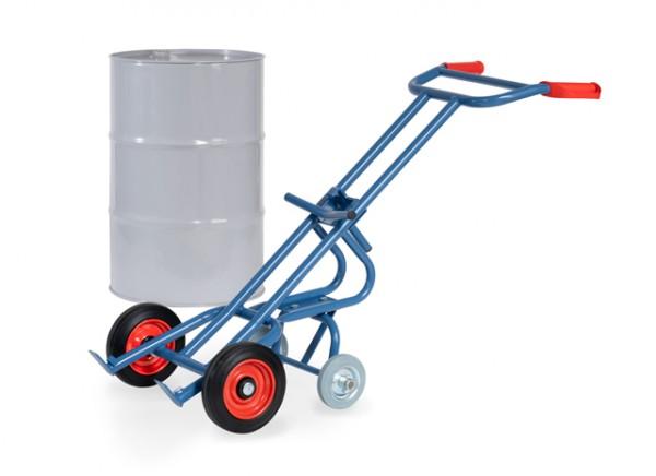 fetra® 2078 Fasskarre mit 2 Stützrädern für 200l Fässer - Vollgummi-Bereifung