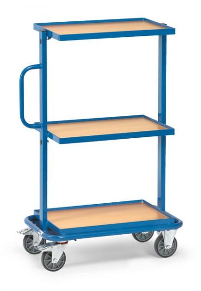 fetra® 32901 Beistellwagen - 3 Böden aus Holz - Rand 13 mm hoch