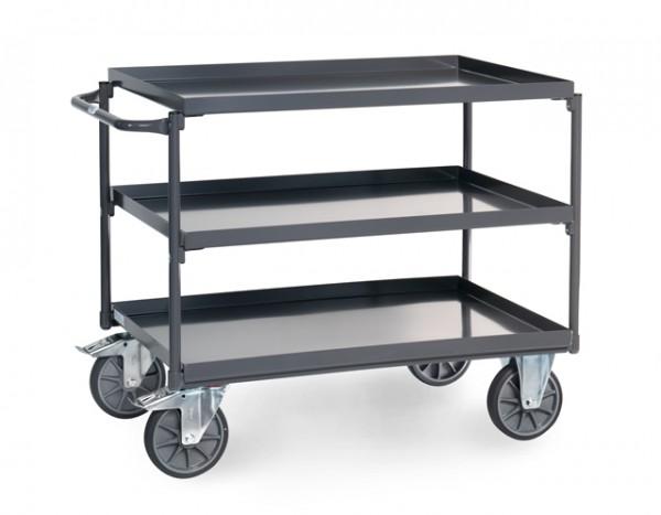 fetra® 9832 ESD-Tischwagen mit Wanne - 3 Etagen