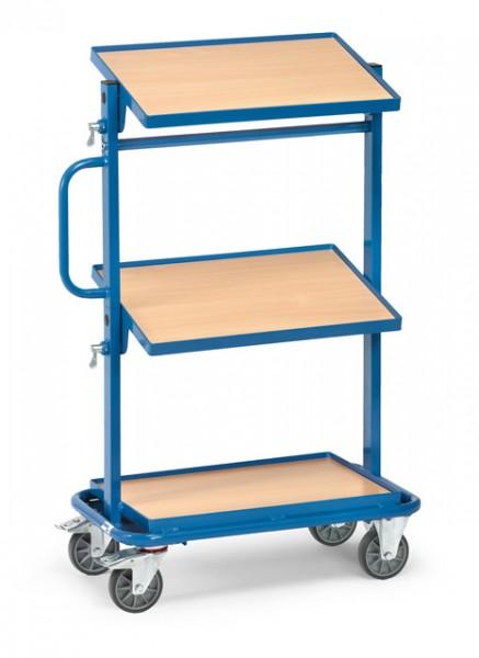 fetra® 32911 Beistellwagen - 3 Böden aus Holz - neigbar - Rand 13 mm hoch