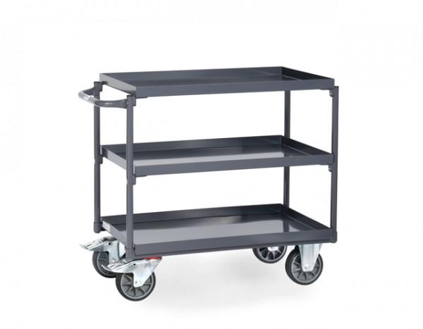 fetra® 9830 ESD-Tischwagen mit Wanne - 3 Etagen