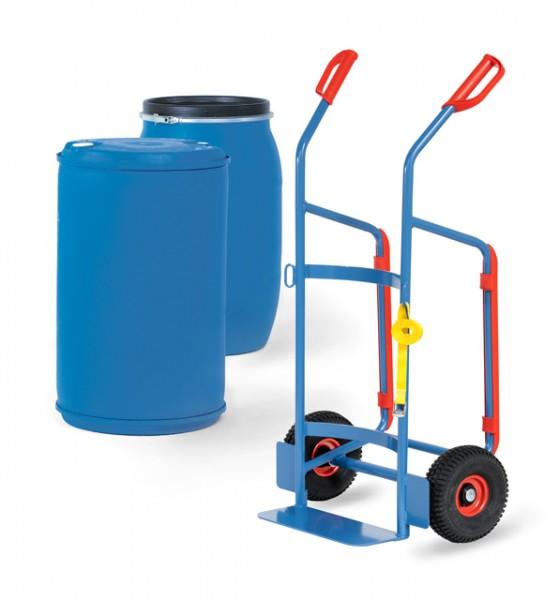 fetra® 2081 Fasskarre für 120-200 Liter Kunststofffässer - Luftbereifung