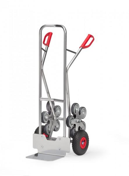 fetra® AK1327 Alu-Treppenkarre - 200 kg Tragkraft, Luftbereifung und 2 fünfarmige Rad-Sterne