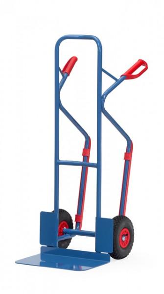 fetra® B1331L Sackkarre - 300kg - Luftbereifung - mit Gleitkufen - breite Schaufel